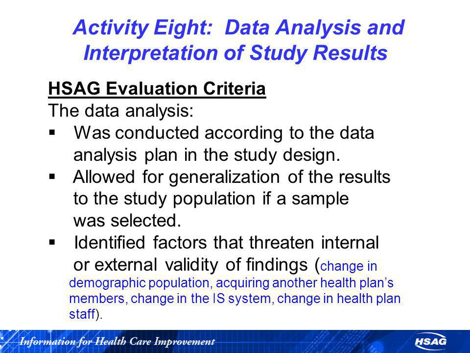 Activity Eight: Data Analysis and Interpretation of Study Results