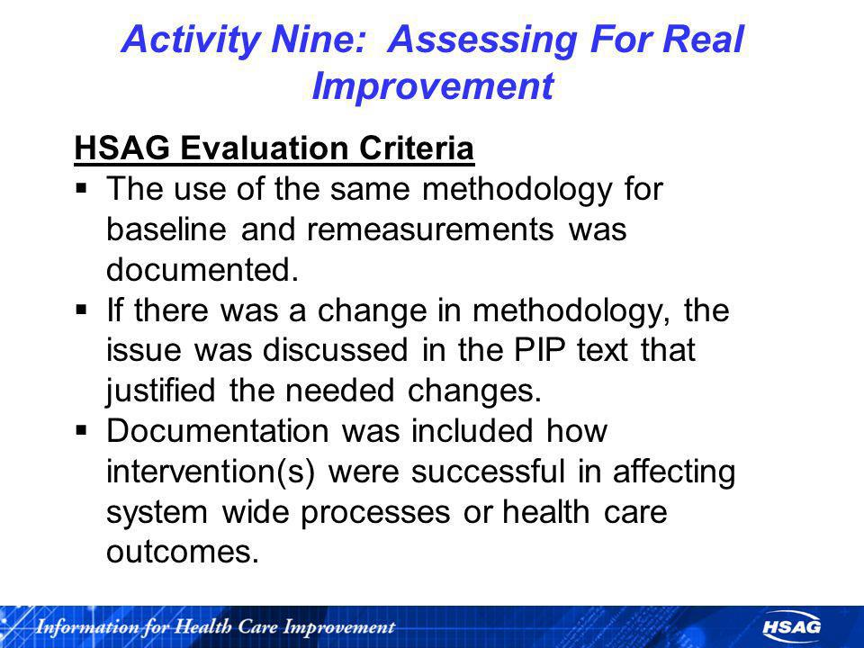 Activity Nine: Assessing For Real Improvement