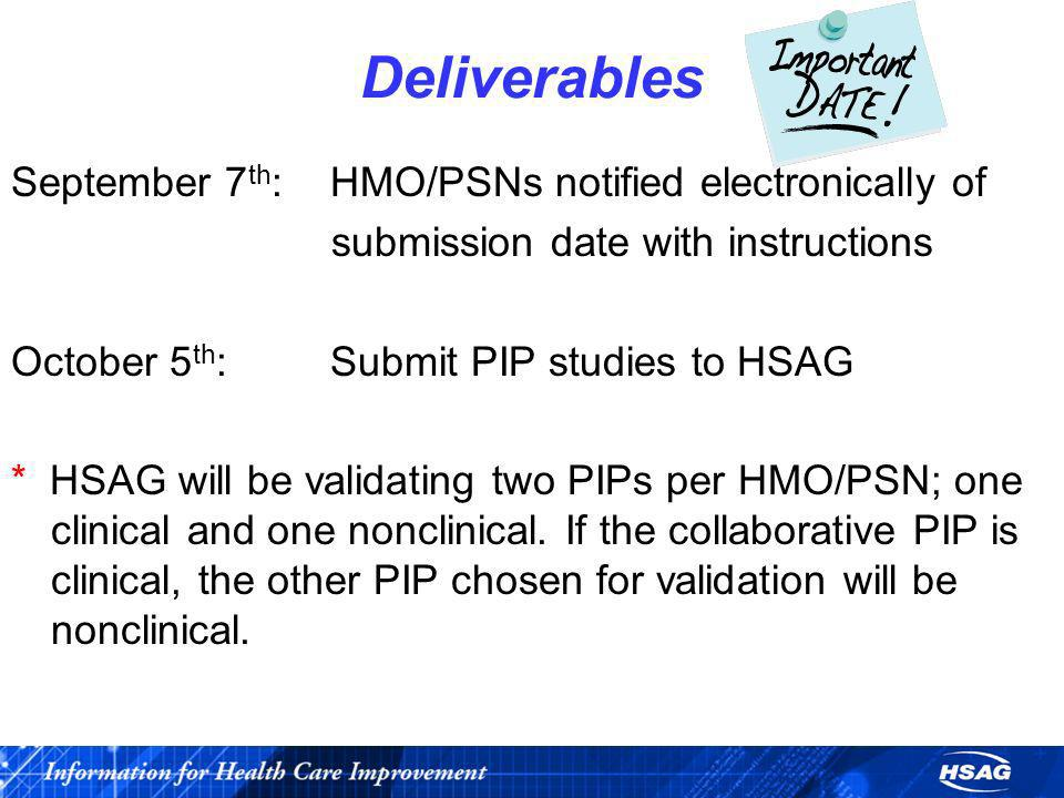 Deliverables September 7th: HMO/PSNs notified electronically of
