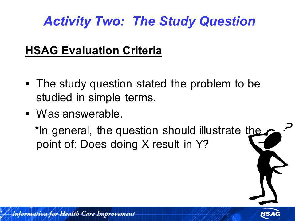Activity Two: The Study Question