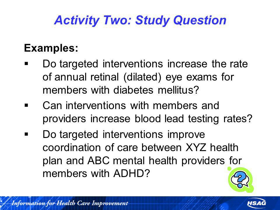 Activity Two: Study Question