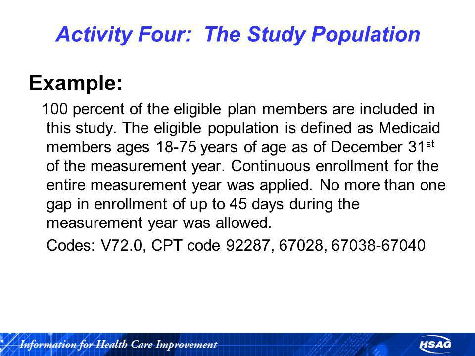 Activity Four: The Study Population