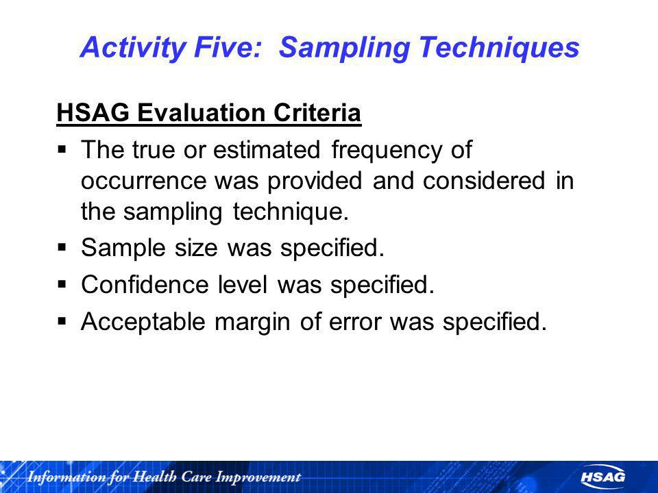 Activity Five: Sampling Techniques
