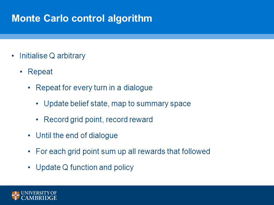 Monte Carlo control algorithm