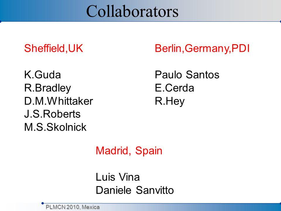Collaborators Sheffield,UK K.Guda R.Bradley D.M.Whittaker J.S.Roberts