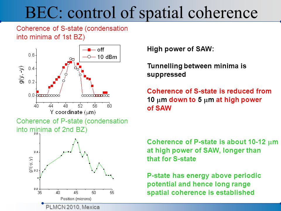 BEC: control of spatial coherence