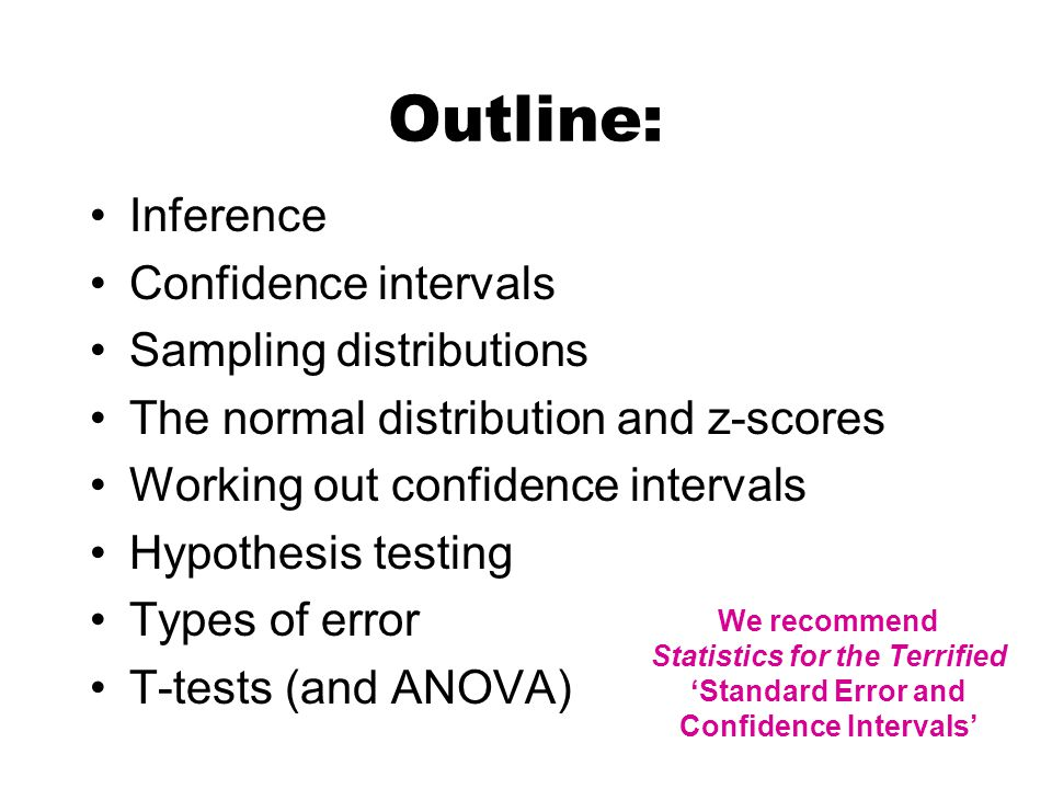 Outline: Inference Confidence intervals Sampling distributions