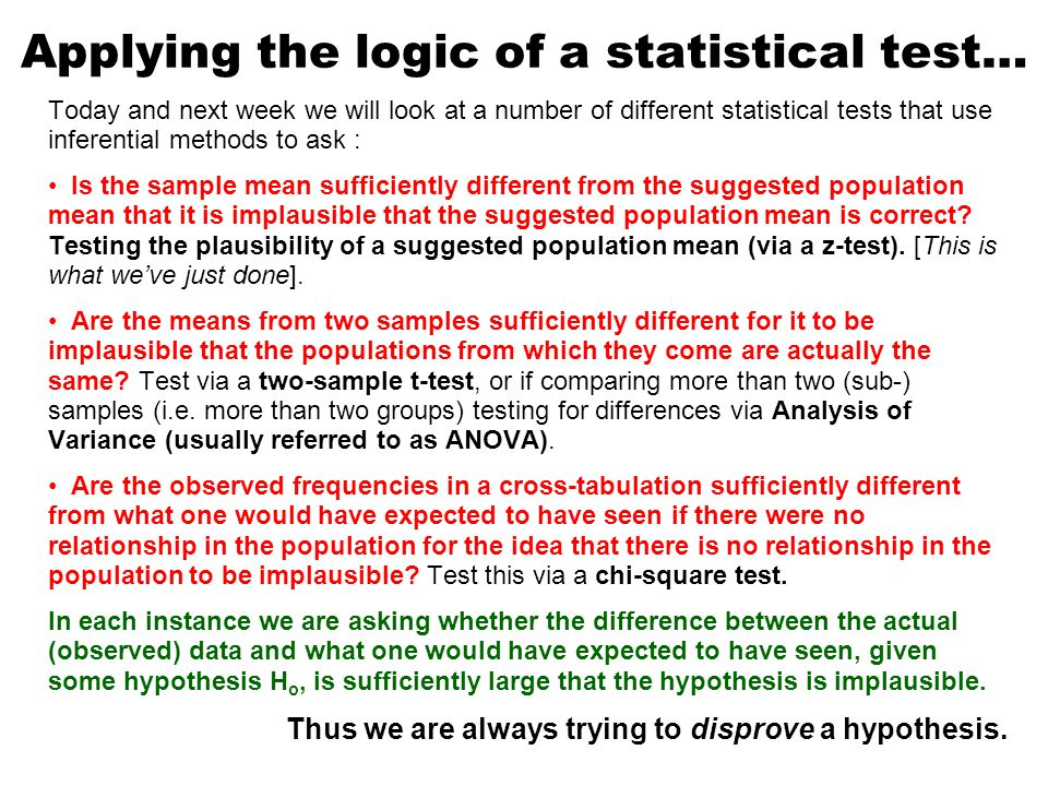 Applying the logic of a statistical test…