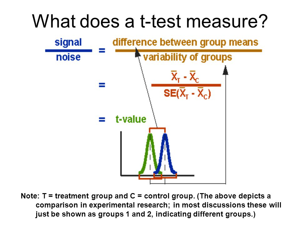 What does a t-test measure