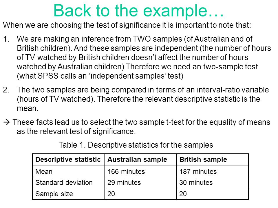Back to the example… When we are choosing the test of significance it is important to note that: