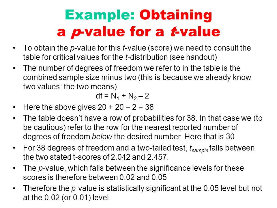 Example: Obtaining a p-value for a t-value