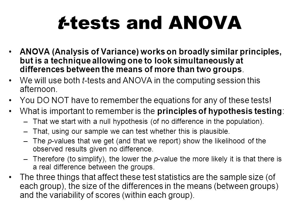 t-tests and ANOVA