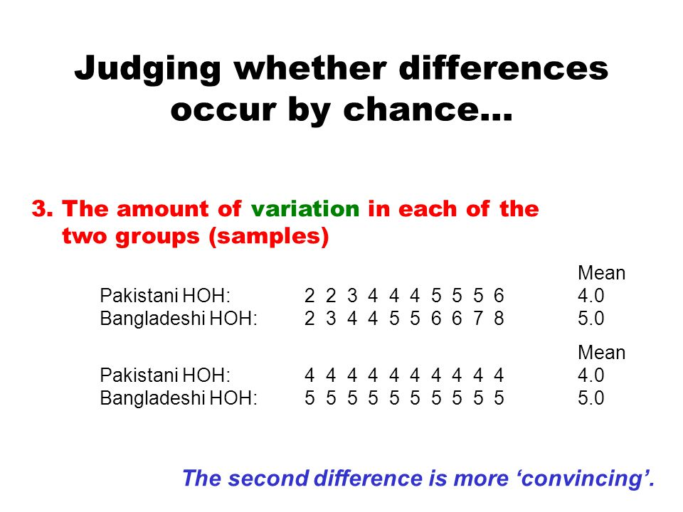Judging whether differences occur by chance…