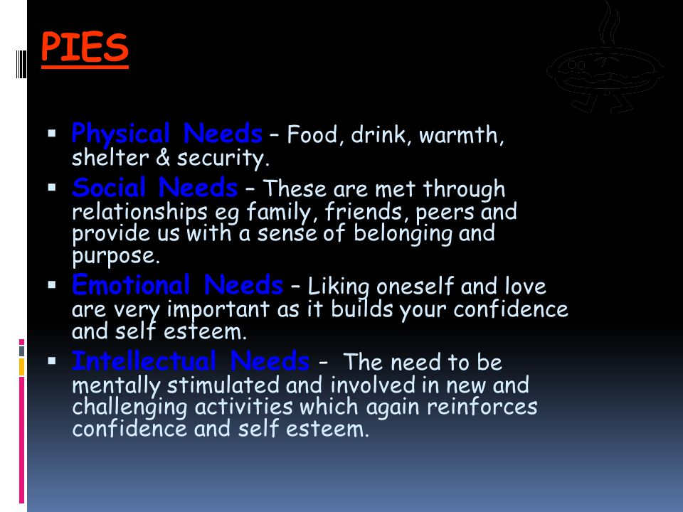 PIES Physical Needs – Food, drink, warmth, shelter & security.