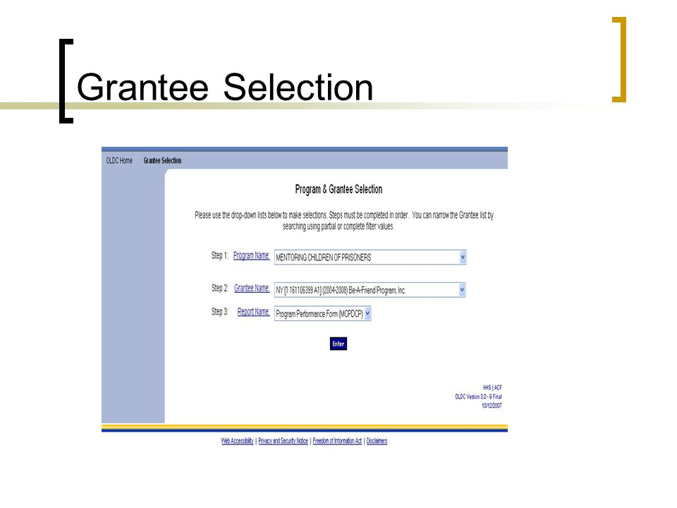 Grantee Selection Select Mentoring Children of Prisoners, Then your Grant Name and then the report completing.