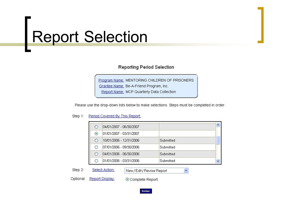 Report Selection Select reporting period and then action. Then hit enter once