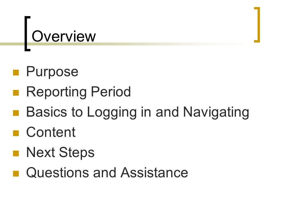 Overview Purpose Reporting Period Basics to Logging in and Navigating