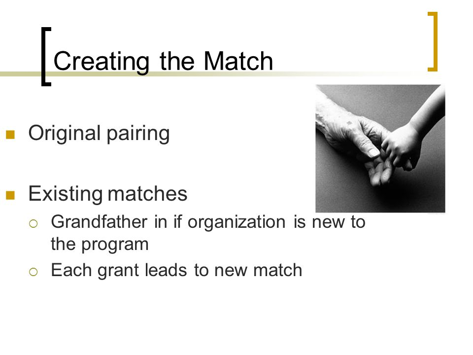 Creating the Match Original pairing Existing matches