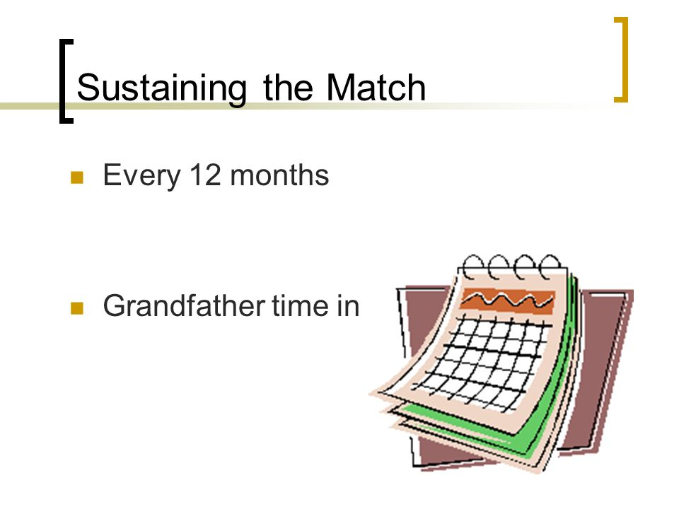 Sustaining the Match Every 12 months Grandfather time in