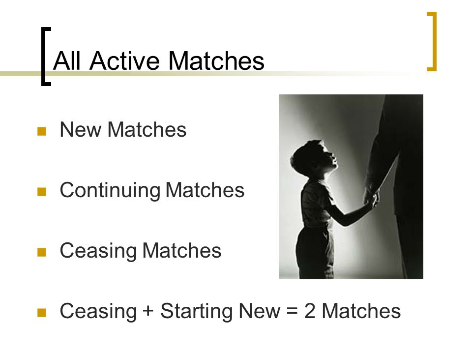 All Active Matches New Matches Continuing Matches Ceasing Matches