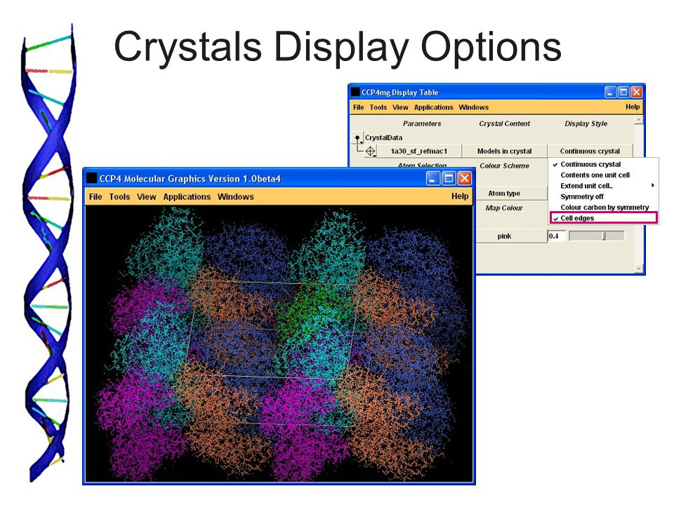 Crystals Display Options
