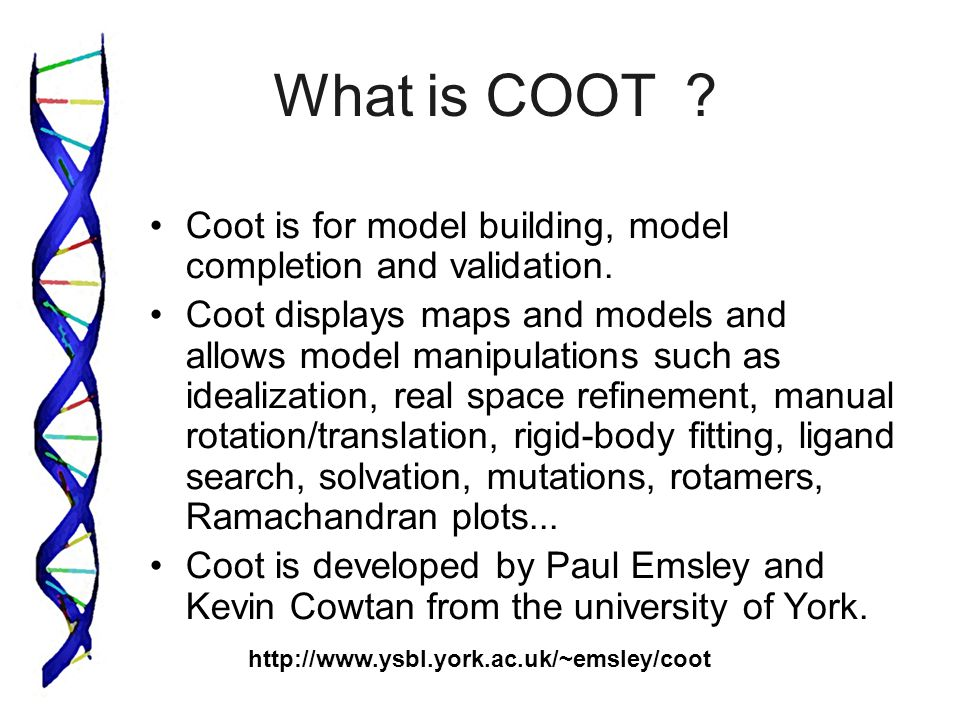 What is COOT ? Coot is for model building, model completion and validation.