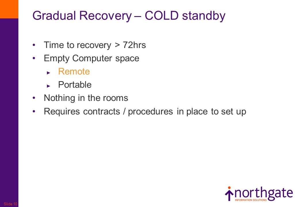 Gradual Recovery – COLD standby