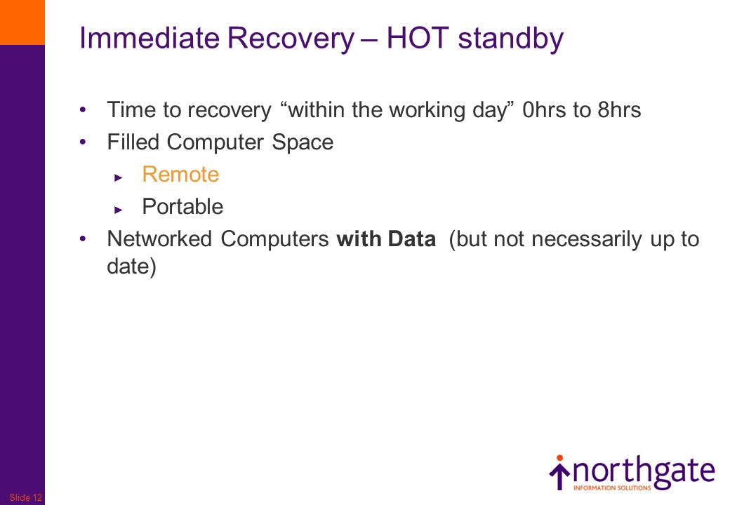 Immediate Recovery – HOT standby