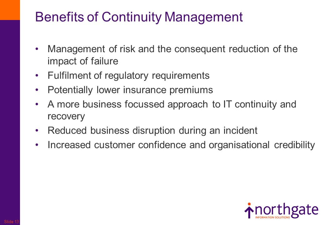 Benefits of Continuity Management