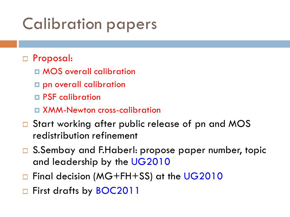 Calibration papers Proposal: