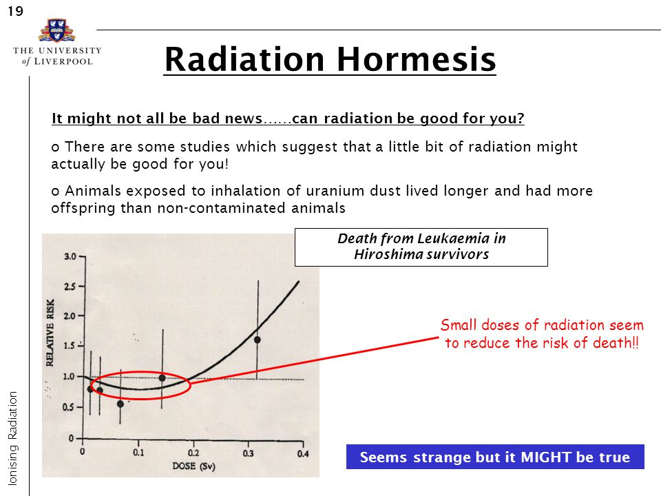 19 Radiation Hormesis. It might not all be bad news……can radiation be good for you
