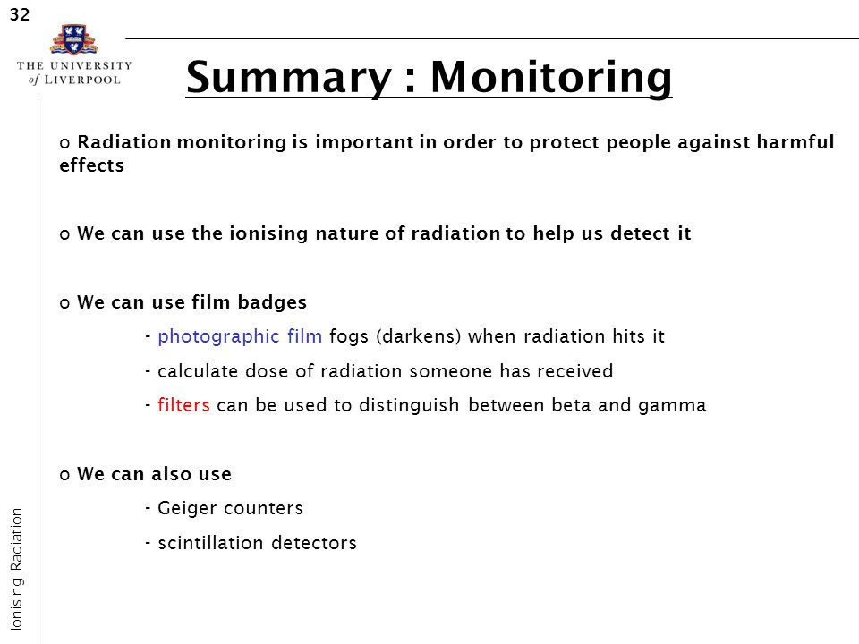 32 Summary : Monitoring. Radiation monitoring is important in order to protect people against harmful effects.