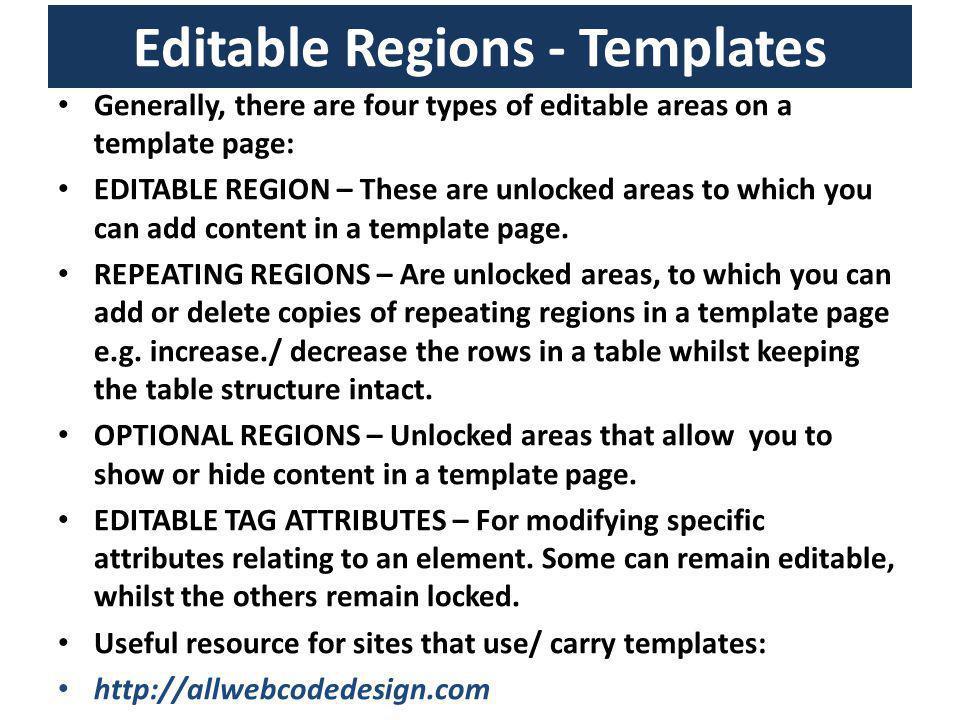 Editable Regions - Templates