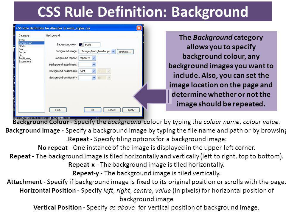 CSS Rule Definition: Background