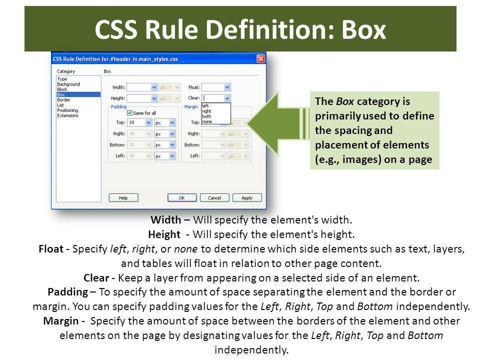 CSS Rule Definition: Box