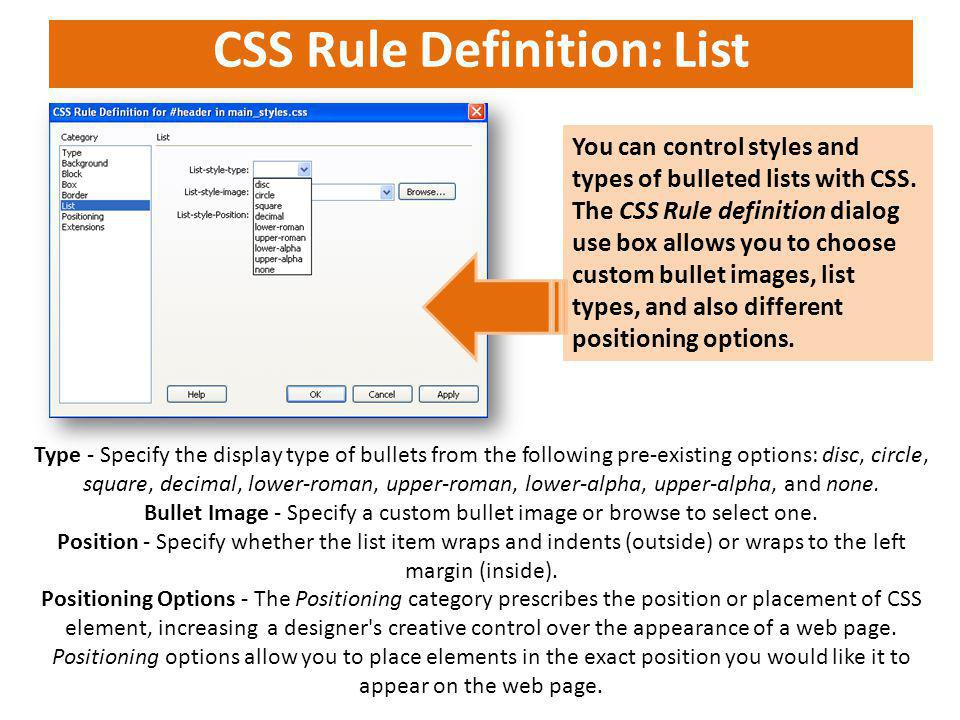 CSS Rule Definition: List