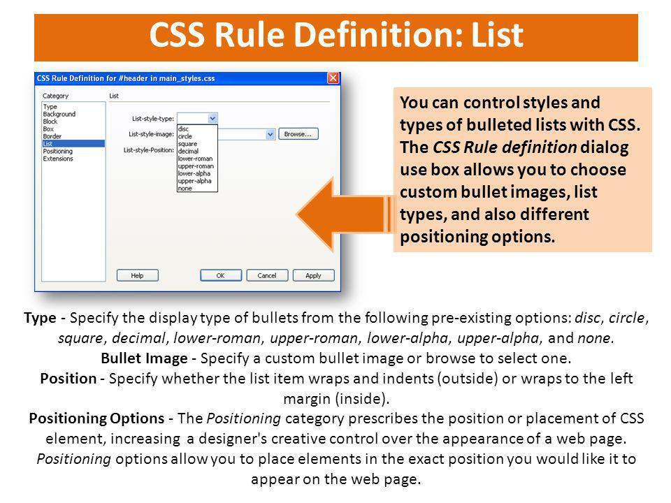 CSS Rule Definition: List