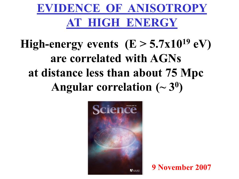 EVIDENCE OF ANISOTROPY AT HIGH ENERGY