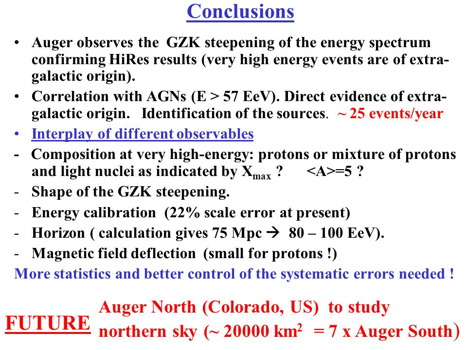 Conclusions FUTURE Auger North (Colorado, US) to study