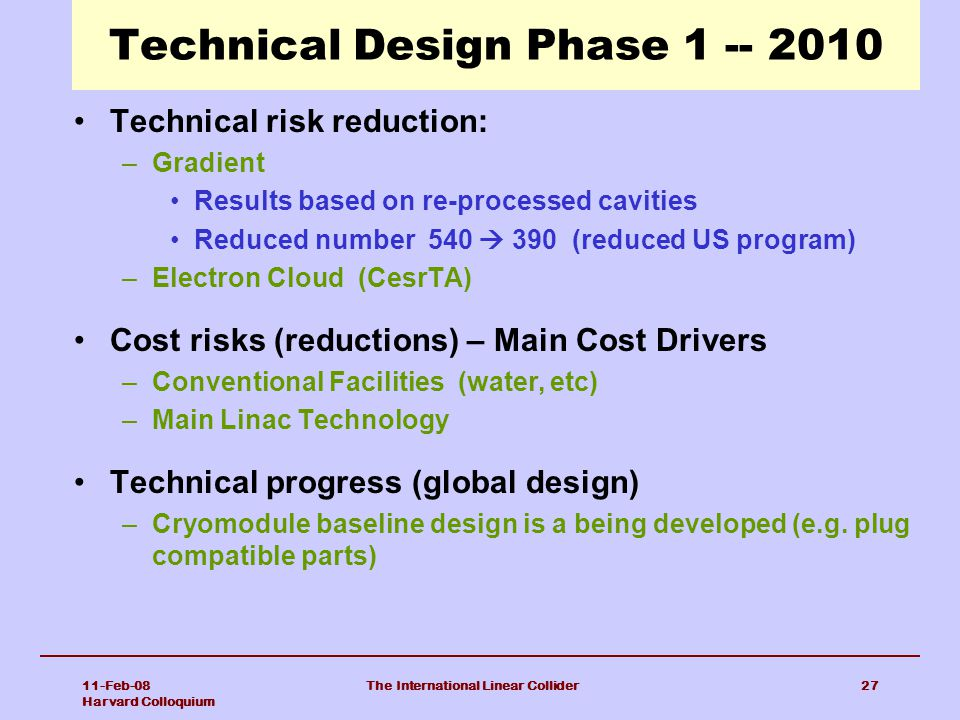 Technical Design Phase 1 -- 2010