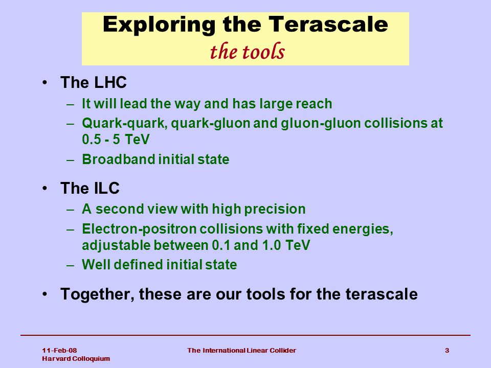 Exploring the Terascale the tools