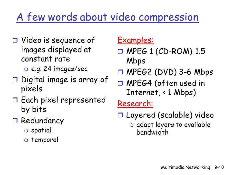 A few words about video compression