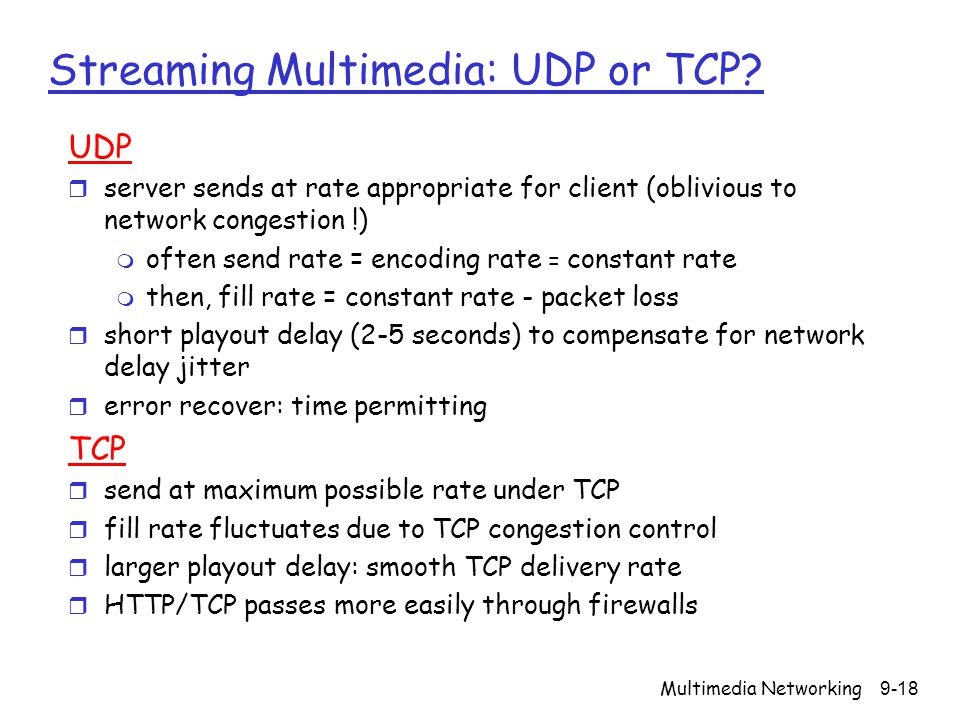 Streaming Multimedia: UDP or TCP