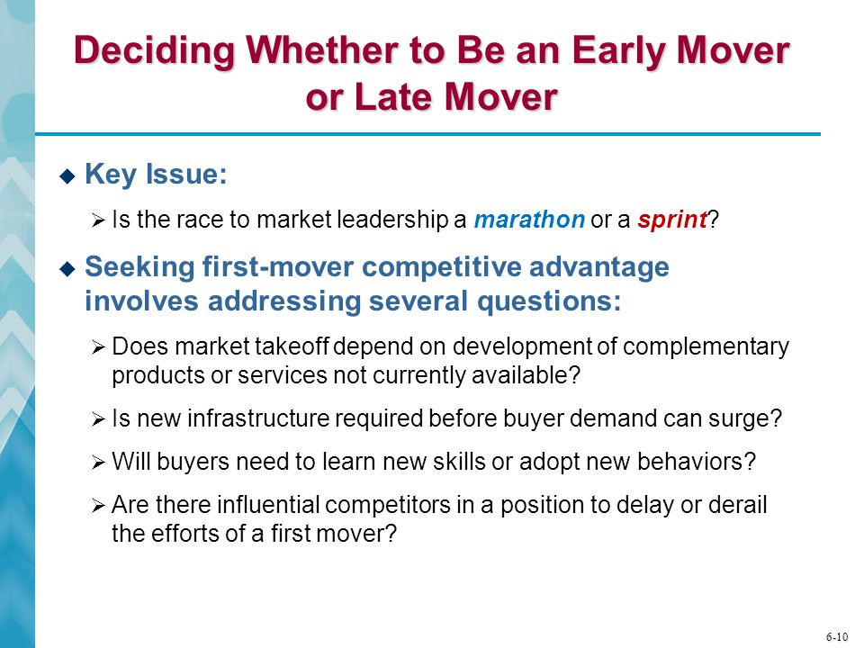 Deciding Whether to Be an Early Mover or Late Mover