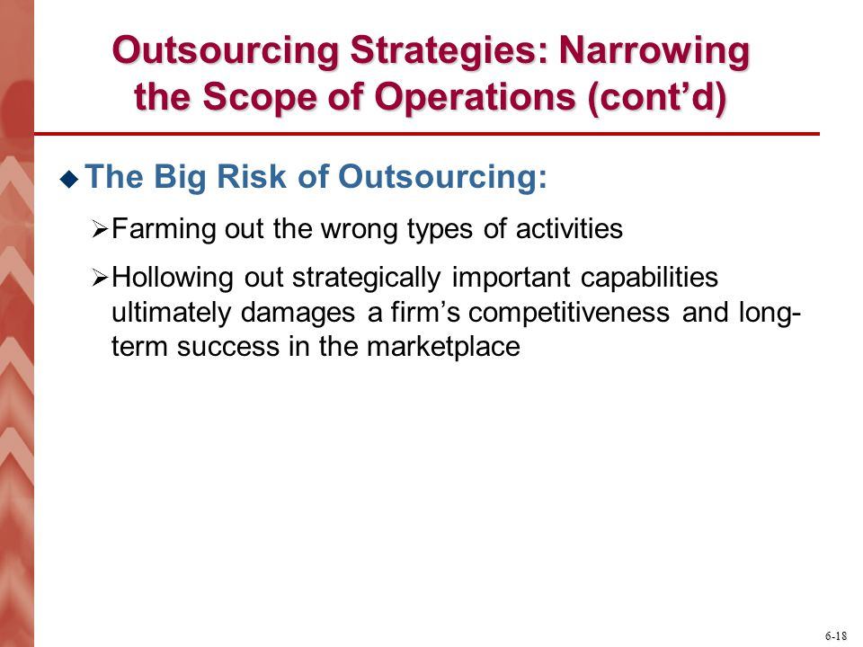 Outsourcing Strategies: Narrowing the Scope of Operations (cont'd)