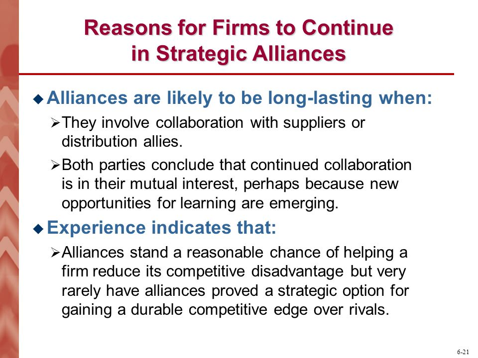 Reasons for Firms to Continue in Strategic Alliances