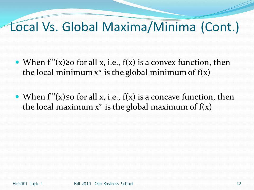 Local Vs. Global Maxima/Minima (Cont.)