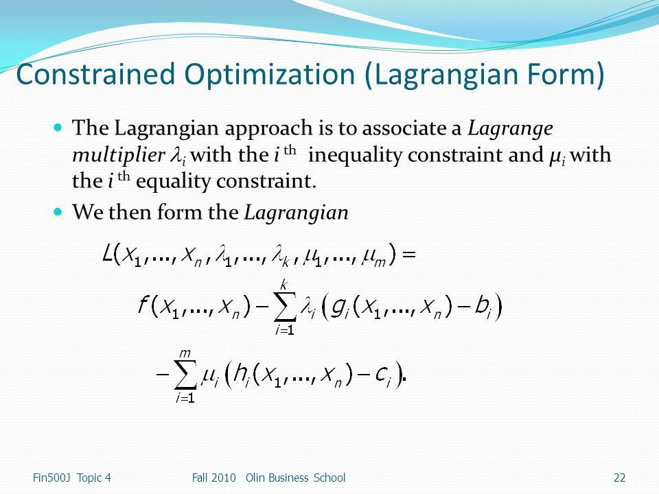 Constrained Optimization (Lagrangian Form)