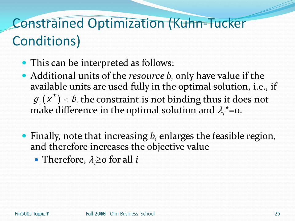 Constrained Optimization (Kuhn-Tucker Conditions)