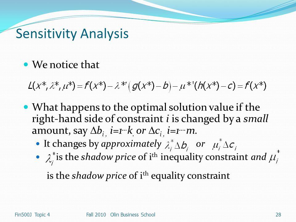 Sensitivity Analysis We notice that